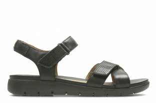 Clarks Womens Un Saffron Black Leather Sandals